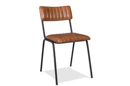 Vertical Tufted Leather Side Chair Set of 2