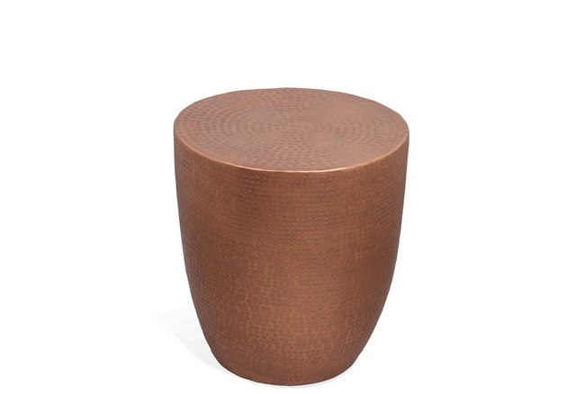 Nadene Antique Copper Drum End Table - 360