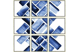 Picture-Blue Bricks Set Of 9
