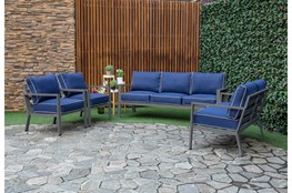 Jackson Outdoor Loveseat With Charcoal Frame + Blue Cushions