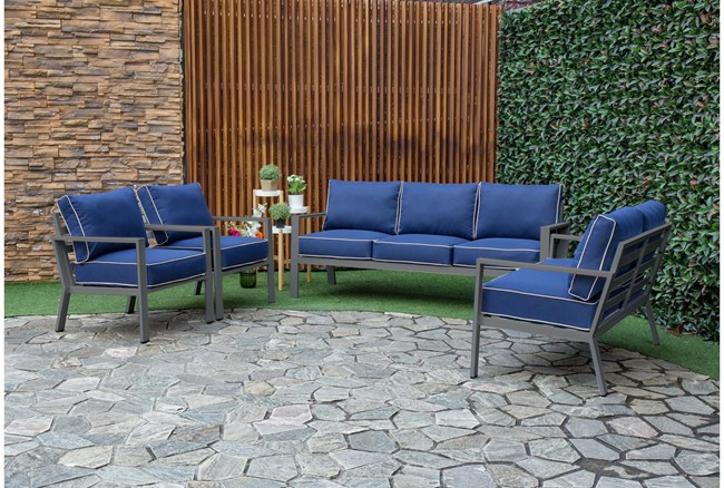 """Jackson 53"""" Outdoor Loveseat With Charcoal Frame + Blue Cushions - 360"""