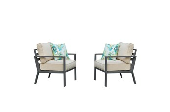 Jackson Outdoor Chairs With Charcoal Frame + Beige Cushions Set Of 2