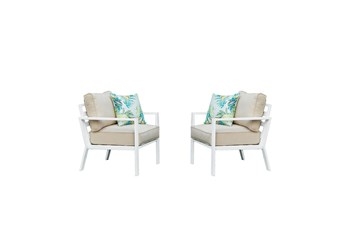 Jackson Outdoor Chairs With White Frame + Beige Cushions Set Of 2