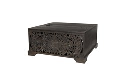 Wood Carved Storage Trunk Coffee Table