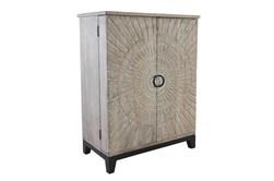 Wood Carved Panel Bar Cabinet