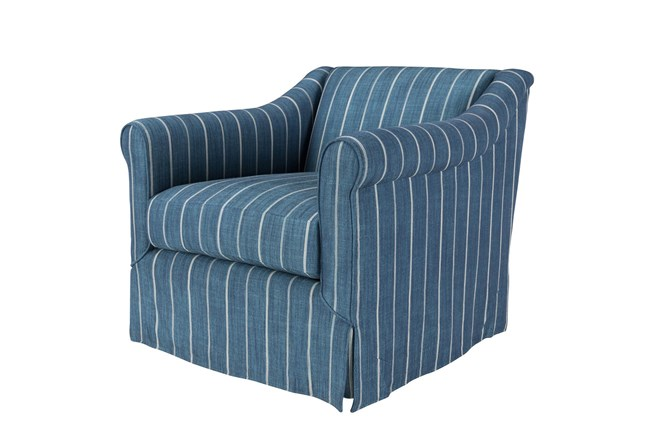 Striped Blue Swivel Accent Chair - 360