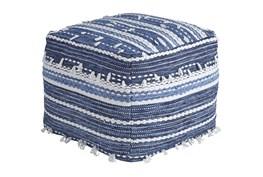 Pouf-Tassel Blue/White