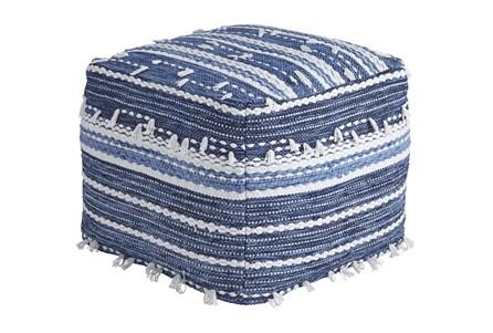 Pouf-Tassel Blue/White - Main