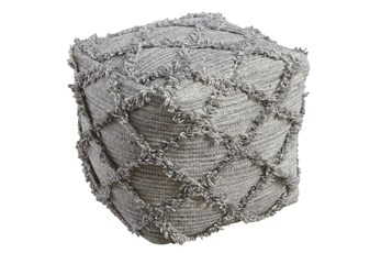 Pouf-Diamond Fringe Gray