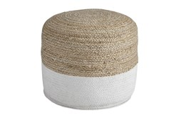 Pouf-Braided Natural/White