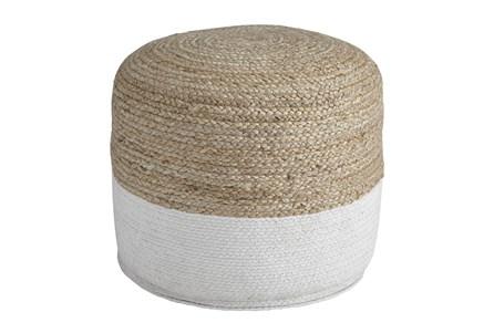 Pouf-Braided Natural/White - Main