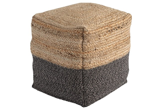 Pouf-Braided Natural/Black - 360