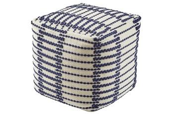 Pouf-Geometric Blue/White