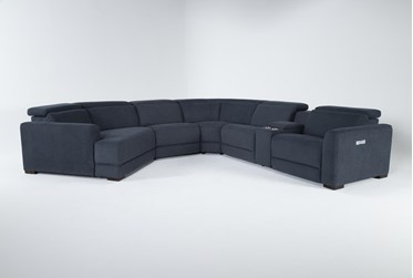 """Chanel Denim 6 Piece 156"""" Sectional With Left Arm Facing Cuddle Chaise"""