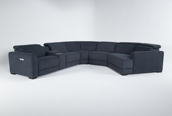"""Chanel Denim 6 Piece 156"""" Sectional With Right Arm Facing Cuddle Chaise"""