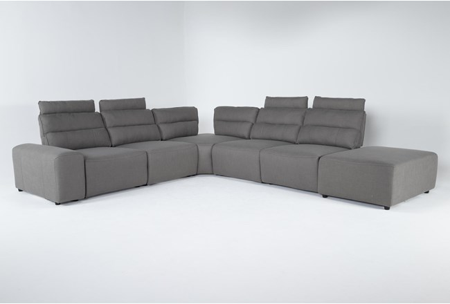 "Sagan 7 Piece 156"" Power Reclining Sectional With 1 Armrest & 1 Ottoman - 360"