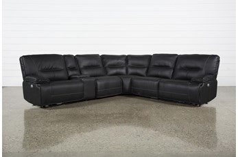 "Marcus Black 6 Piece 131"" Reclining Sectional With Power Headrest & Usb"