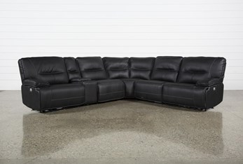 """Marcus Black 6 Piece 131"""" Reclining Sectional With Power Headrest & Usb"""