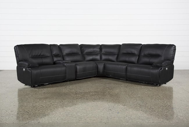 """Marcus Black 6 Piece 131"""" Reclining Sectional With Power Headrest & Usb - 360"""