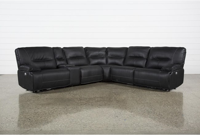 Marcus Black 6 Piece Reclining Sectional With Power Headrest & Usb - 360