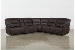 "Marcus Chocolate 6 Piece 131"" Sectional With Power Headrest And USB"