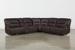 """Marcus Chocolate 6 Piece 131"""" Sectional With Power Headrest And USB"""