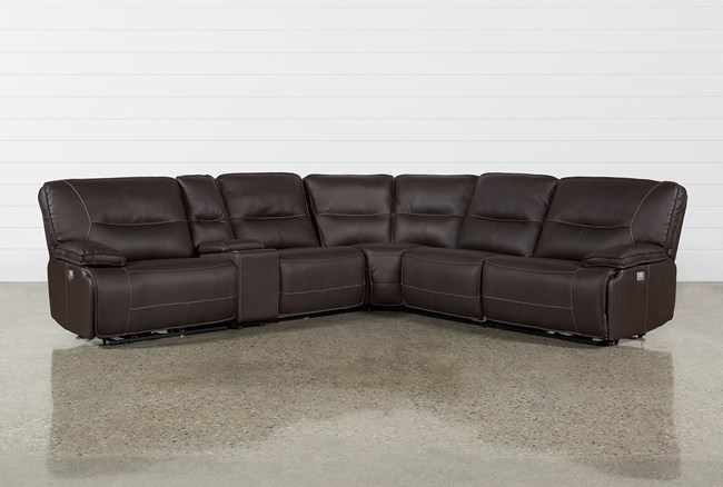 """Marcus Chocolate 6 Piece 131"""" Sectional With Power Headrest And USB - 360"""
