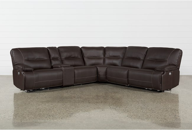 "Marcus Chocolate 6 Piece 131"" Sectional With Power Headrest And USB - 360"