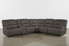 "Marcus Grey 6 Piece 131"" Sectional With Power Headrest & Usb"