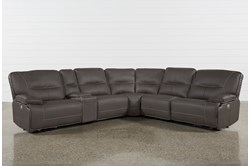 "Marcus Grey 6 Piece 131"" Sectional With Power Headrest & Usb"