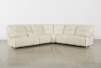 """Marcus Oyster 6 Piece 131"""" Sectional WithPower Headrest And Usb"""