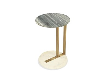 Brushed Brass + Marble Accent Table