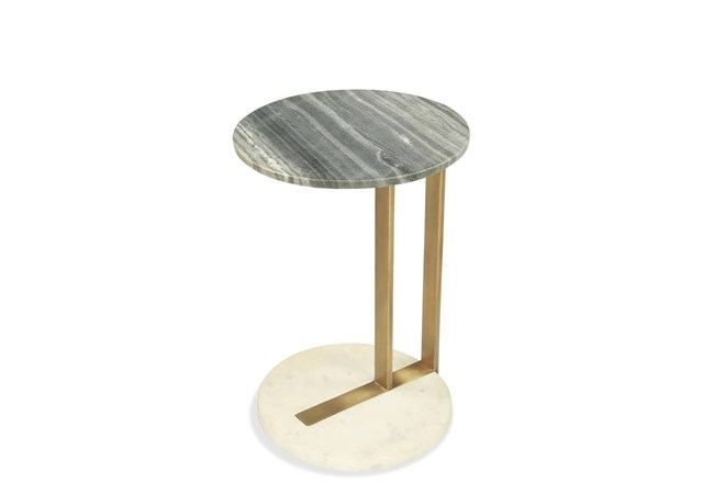 Brushed Brass + Marble Accent Table  - 360