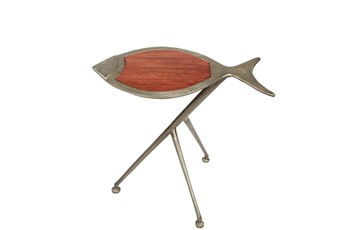 Dark Sheesham Raw Nickel Fish Table