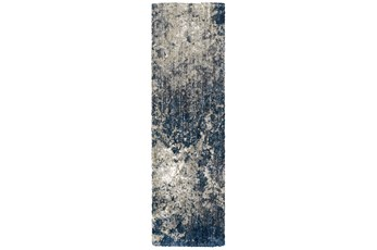 27X91 Runner Rug-Asher Abstract Shag Blue