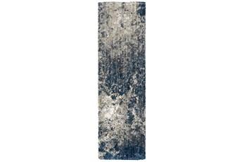 "2'3""x7'6"" Runner Rug-Asher Abstract Shag Blue"