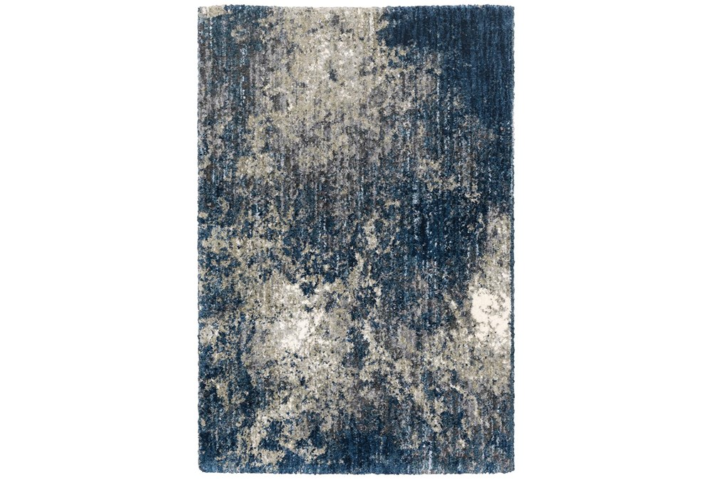 """3'8""""x5'4"""" Rug-Asher Abstract Shag Blue"""