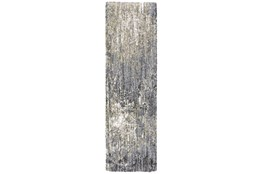 27X91 Runner Rug-Asher Abstract Shag Grey