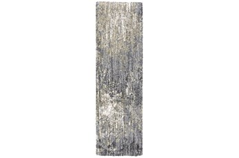 27X91 Runner Rug-Asher Abstract Shag Grey