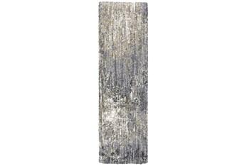 "2'3""x7'6"" Runner Rug-Asher Abstract Shag Grey"