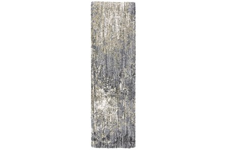 27X91 Runner Rug-Asher Abstract Shag Grey - Main