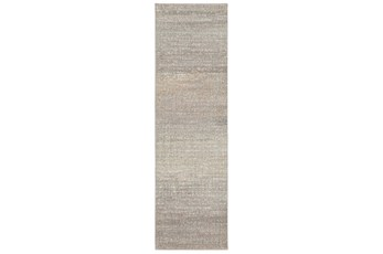 27X91 Runner Rug-Carlton Abstract Distressed Grey