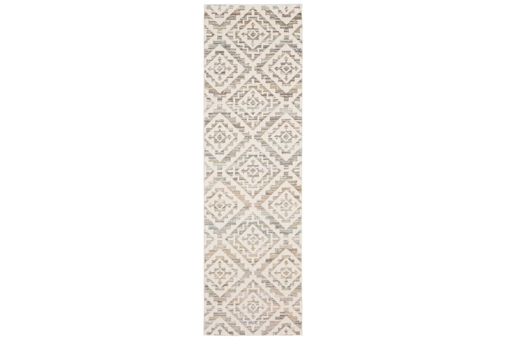 "2'3""x7'6"" Runner Rug-Carlton Geometric Distressed Ivory"