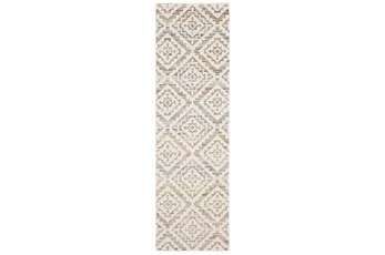 27X91 Runner Rug-Carlton Geometric Distressed Ivory