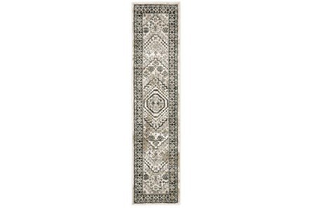 22X91 Runner Rug-Greyson Border Diamonds Ivory - Main