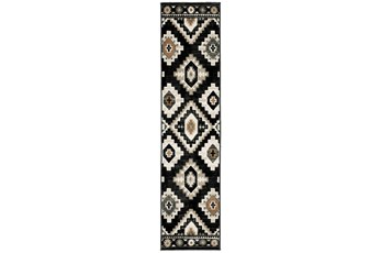 22X91 Runner Rug-Greyson Southwest Diamonds Charcoal