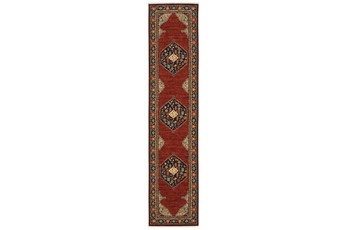 31X146 Runner Rug-Landres Aztec Medallion Blue