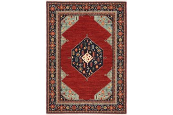 118X155 Rug-Landres Aztec Medallion Blue