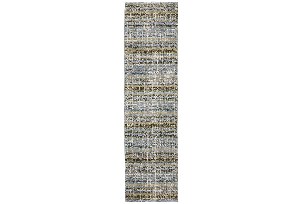 """2'2""""x8'3"""" Runner Rug-Axel Abstract Stripe Blue"""