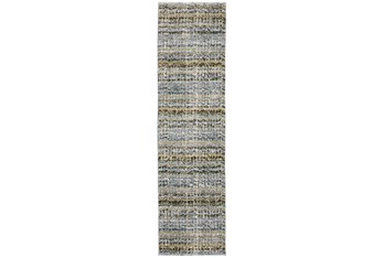 """2'5""""x12' Runner Rug-Axel Abstract Stripe Blue"""